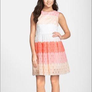 Betsey Johnson Stripe Ombré Fit & Flare Dress